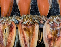 Salmon and kippers in a smokehouse